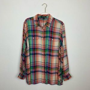 Ralph Lauren Green Label Button Down Plaid Shirt